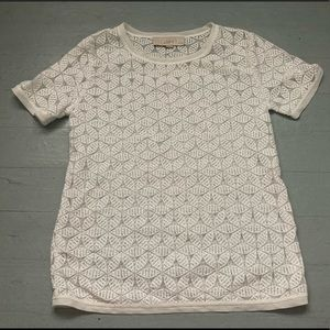 XS petite Anne Taylor Loft floral mesh white top
